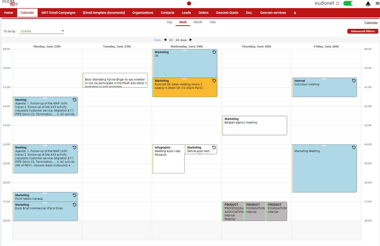 Collaborative calendar CRM